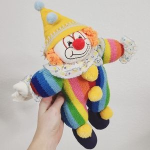 Enesco 1985 Vintage Knitted Striped Clown Doll